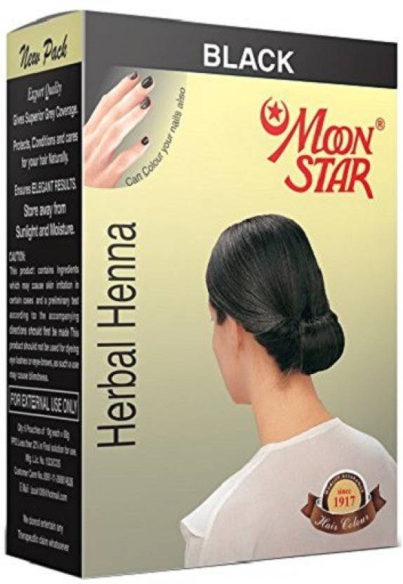 Moonstar Herbal Henna Black Hair Color 6 Sachets Of 10 G Each Hair
