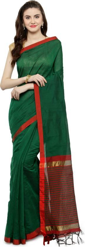 8a9e487b2c Buy Kvsfab Plain Banarasi Cotton Silk Green, Red Sarees Online ...