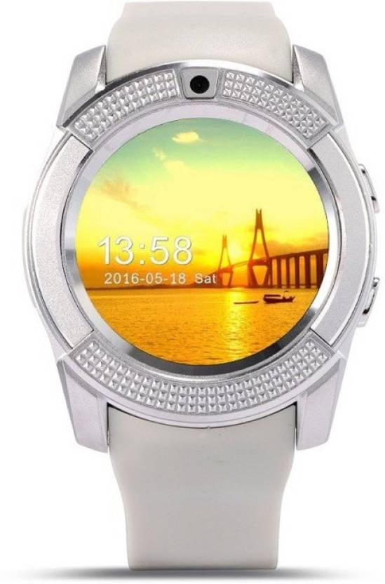 DRUMSTONE V8 Bluetooth Smartwatch With Sim & TF Card Support Compatible With Android & IOS Devices Smartwatch (White Strap Free Size)