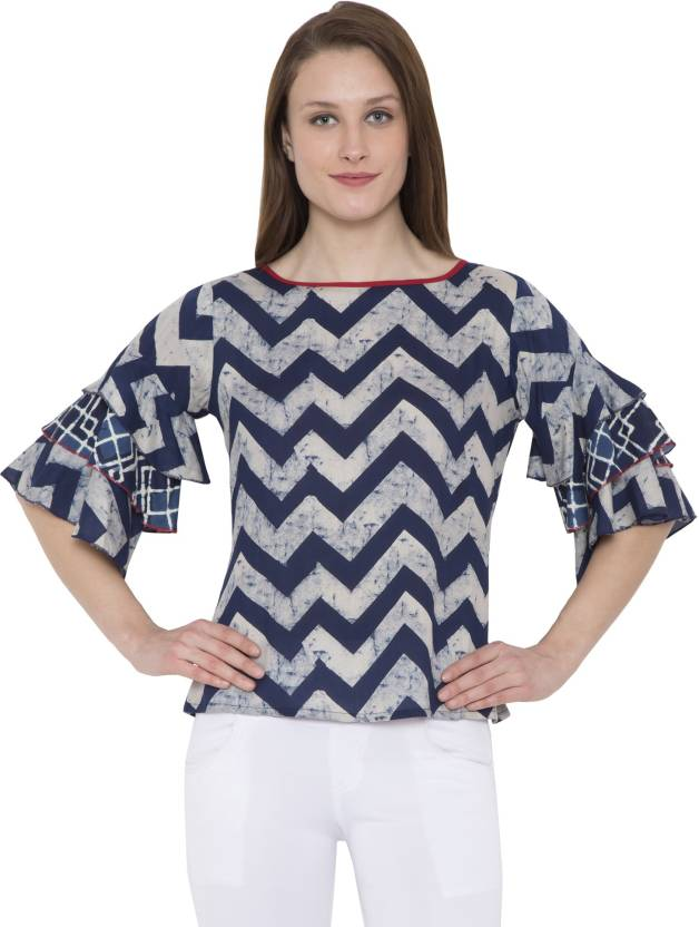 eb2658f891ad0a Hive91 Casual Half Sleeve Printed Women's Blue Top - Buy Hive91 ...