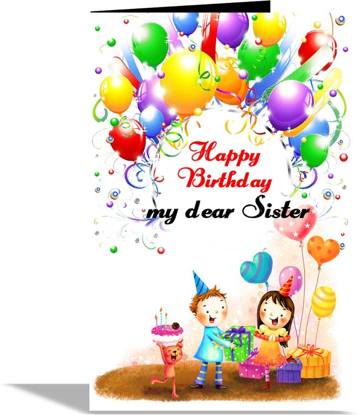 Alwaysgift Happy Birthday My Dear Sister Greeting Card Multicolor Pack Of 1