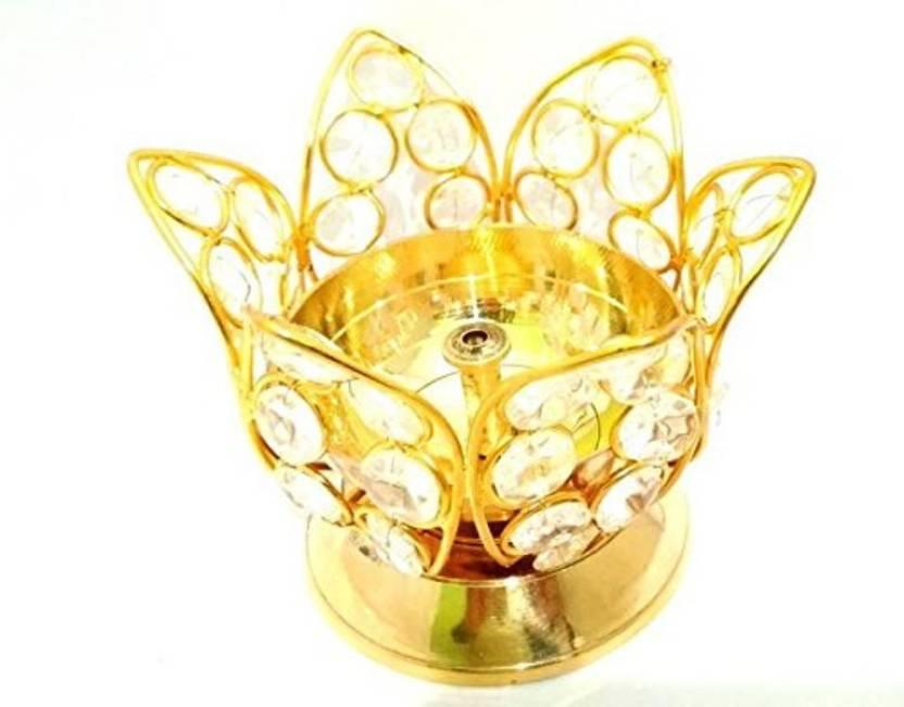 Sri Lalit Arts Crystal Bowllotus Flower Design Diya For Puja Home