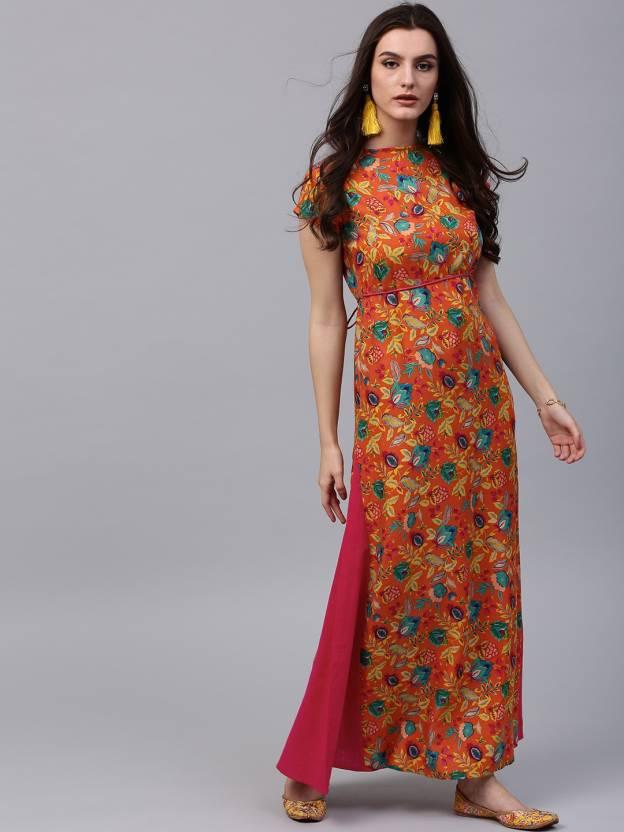 1cdbd65f48b Aks Women s Maxi Orange Dress - Buy Aks Women s Maxi Orange Dress Online at  Best Prices in India