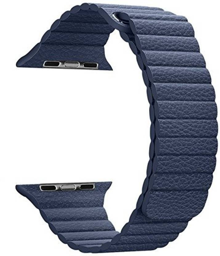 Memore Leather Magnetic Band for Apple Watch Series 1, Series 2 & Sport & Edition 38mm Blue Smart Watch Strap (Blue)