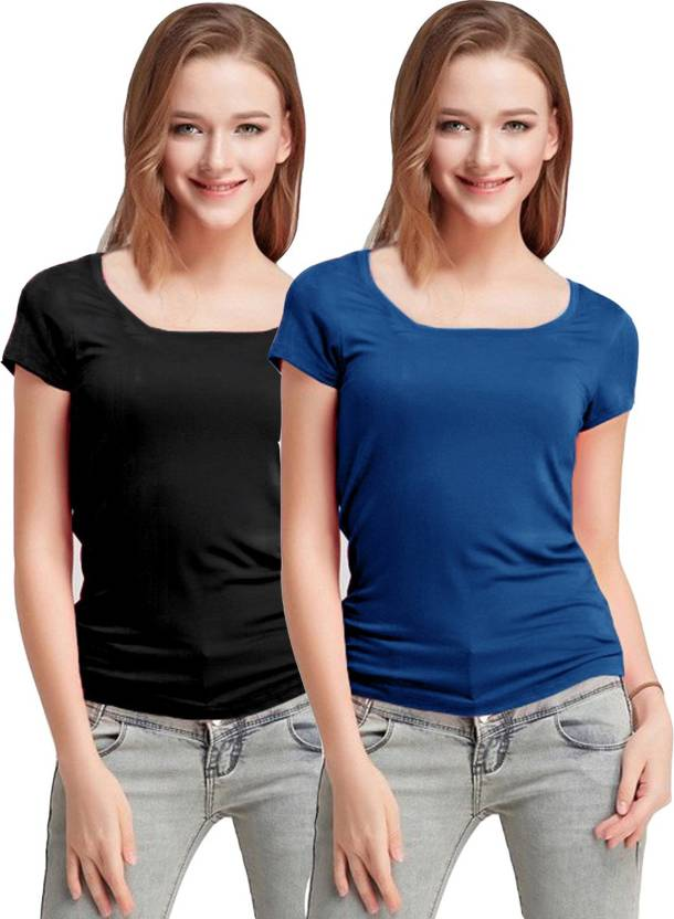 8fc07d59eb Fashion Line Solid Women Round Neck Black, Blue T-Shirt (Pack of 2)