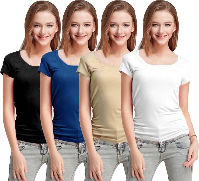 55bfb0c2c Fashion Line Solid Women Round Neck Black, Blue, Beige, White T-Shirt (Pack  of 4)