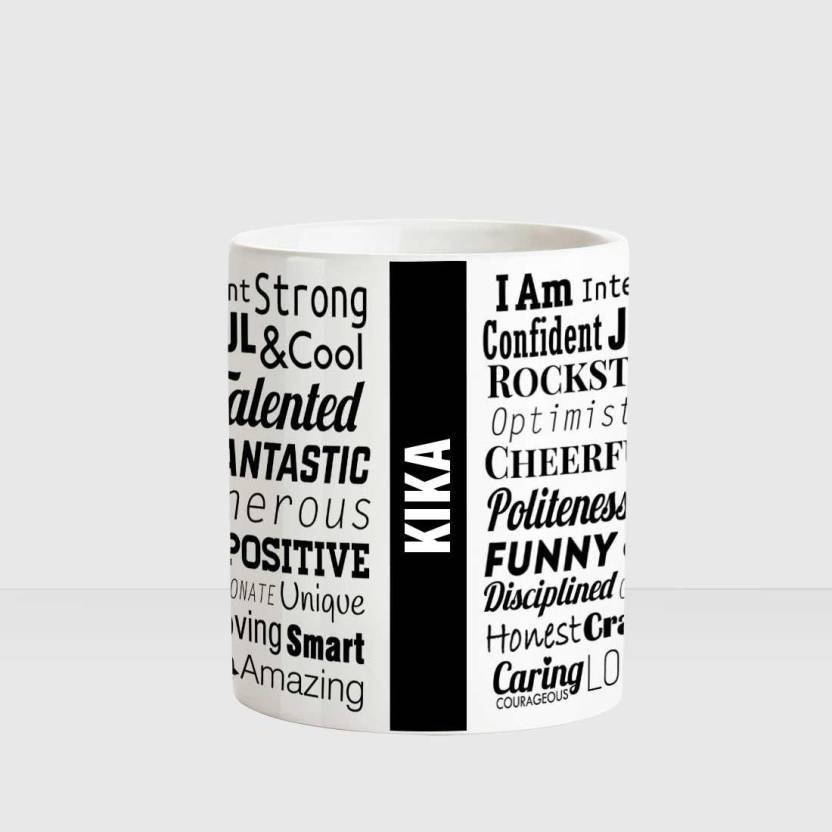 Huppme Kika Good Personality White Ceramic Coffee Name Ceramic Mug
