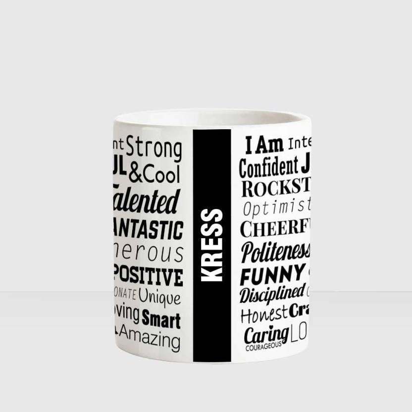 Huppme Kress Good Personality White Ceramic Coffee Name Ceramic Mug