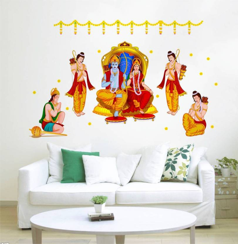 rawpockets decals ' god ram seetha and hanuman' large size wall