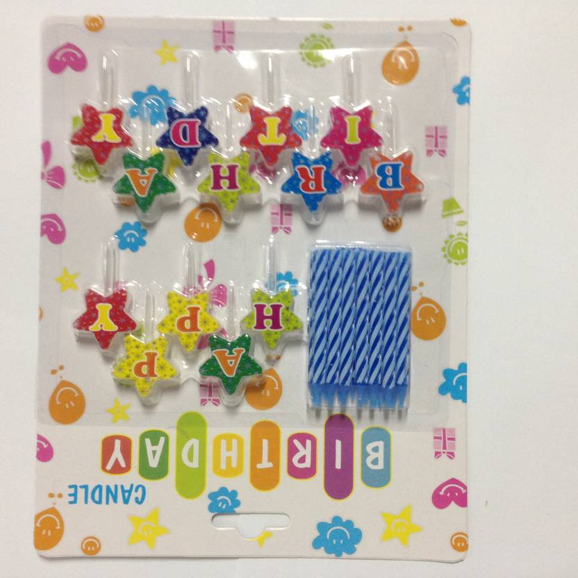 Funcart Star Happy Birthday Cake Topper With Blue Candle
