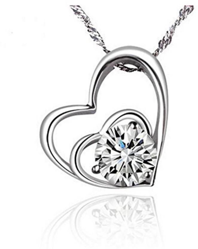 Zirconia Silver For Chain Heart Cubic Zircon Pendant Jewelry Necklace Women