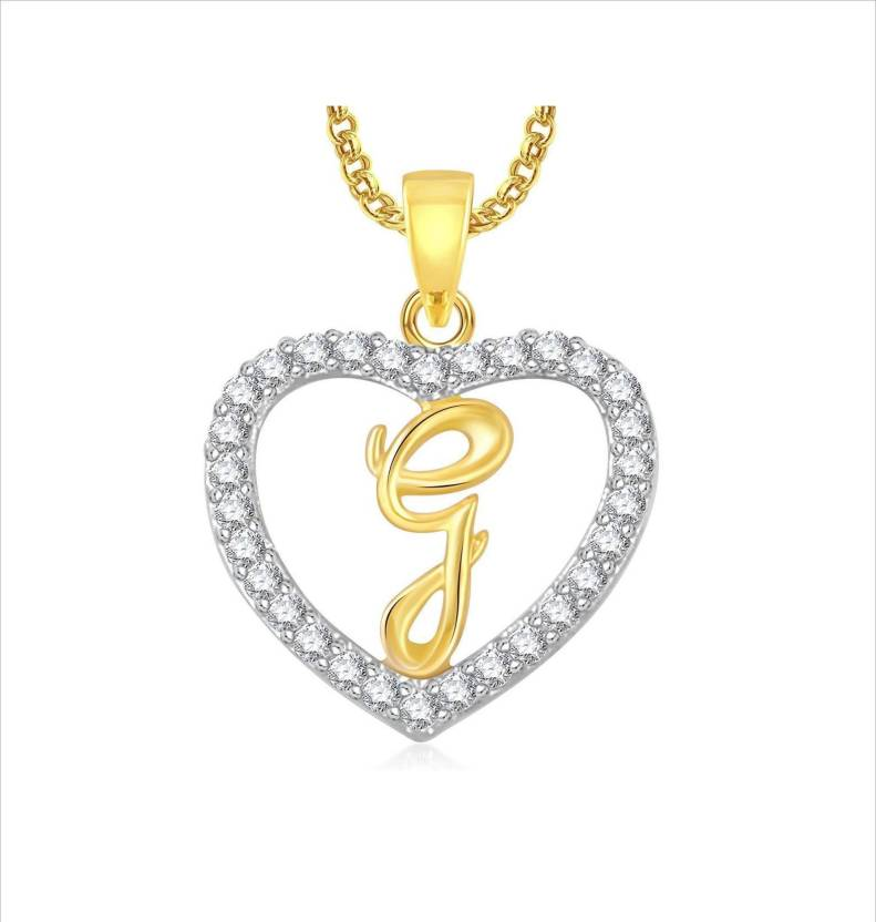DCJEWELS Stylish Alphabet G Letter Heart Locket With Chain For Men And Women