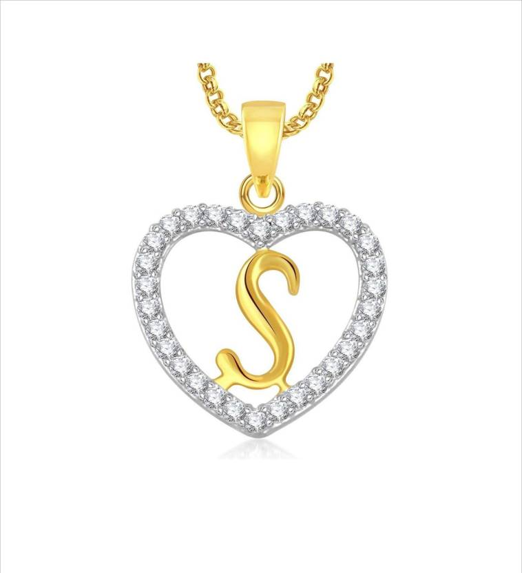 Stylish Teens Gorgeous Alphabet S Letter Heart Locket With Chain For Men And Women