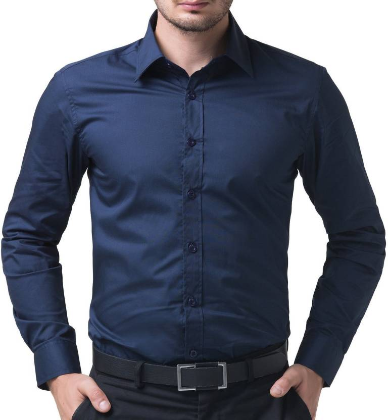Deeksha Mens Solid Formal Blue Shirt
