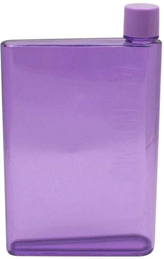724b80fbc1 VibeX ® A5 Paper Memobottle Clear Flat Water Bottle Cup BPA-Free 420 ml  Bottle (Pack of 1, Purple)