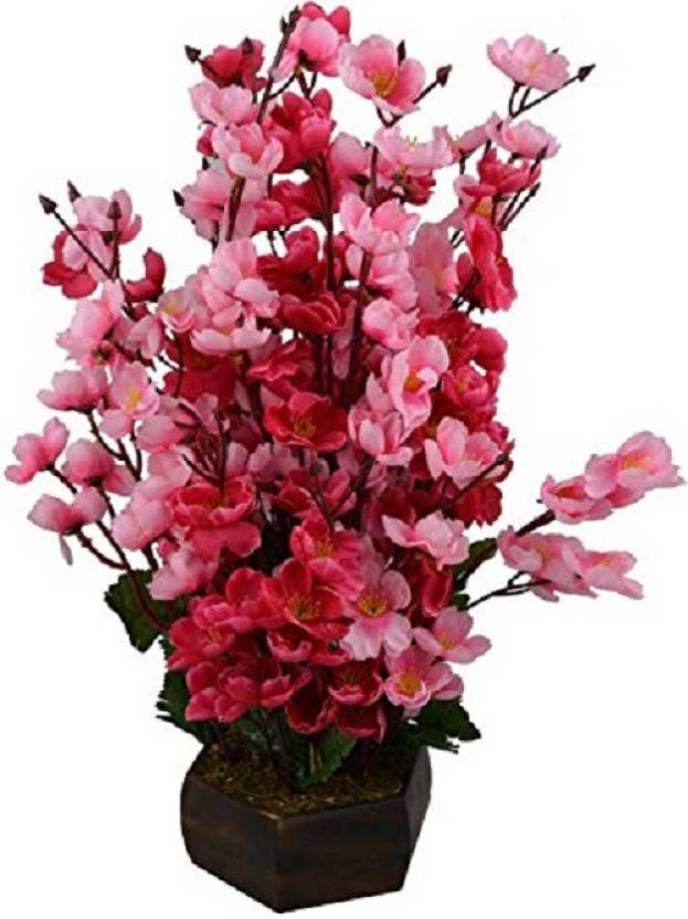 kaykon Beautiful Artificial Flower Pot For Home Decor Office Decor Hotel Decor Flowers -12 Sticks Red, Pink Orchids Artificial Flower with Pot (16 inch, ...
