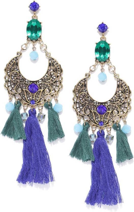 Chika Handmade Tel Stone Costume Jewellery Earrings Metal Dangle Earring