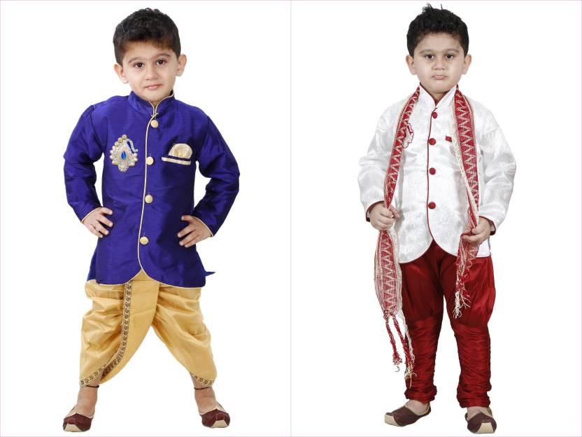 366c3898e SBN FANCY SHERWANI AND DHOTI SET Boys Festive   Party Kurta and Pyjama Set  (Multicolor Pack of 2)