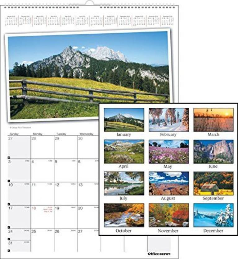 Office Depot Photographic Wall Calendar 12in X 17in 30 Recycled