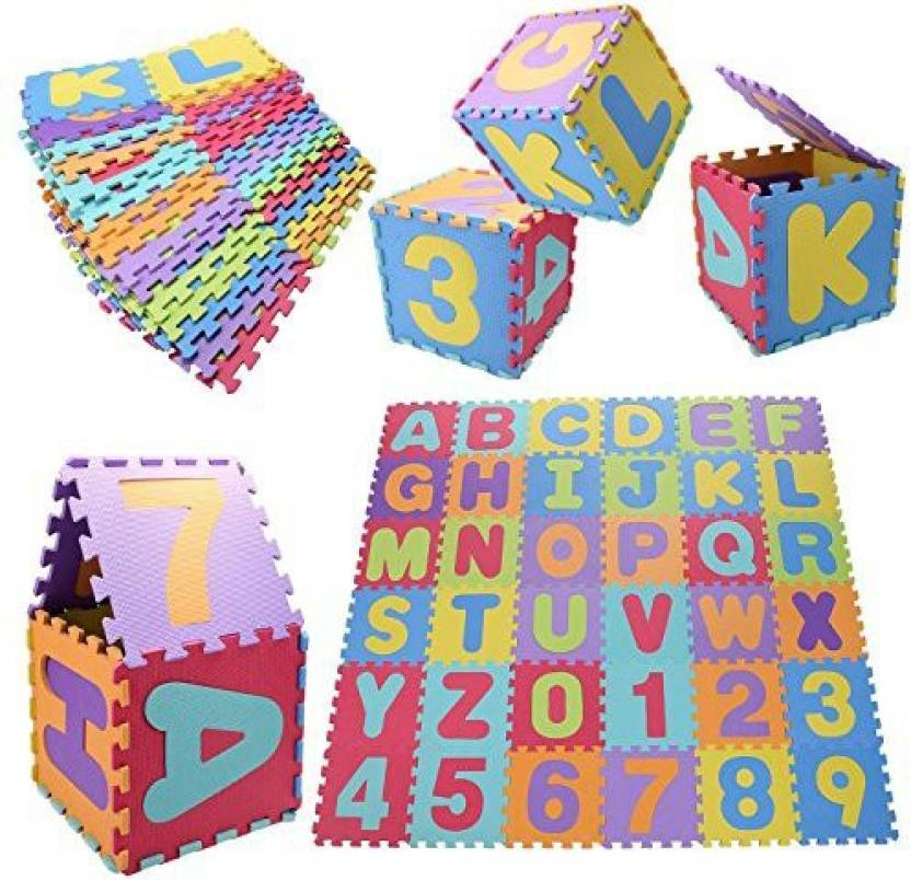 Generic 36Pcs Kids Baby Alphabet Number Eva Foam Floor Puzzle Safety Play Mat, Alphabet Puzzle Crawling Mat (Multicolor)