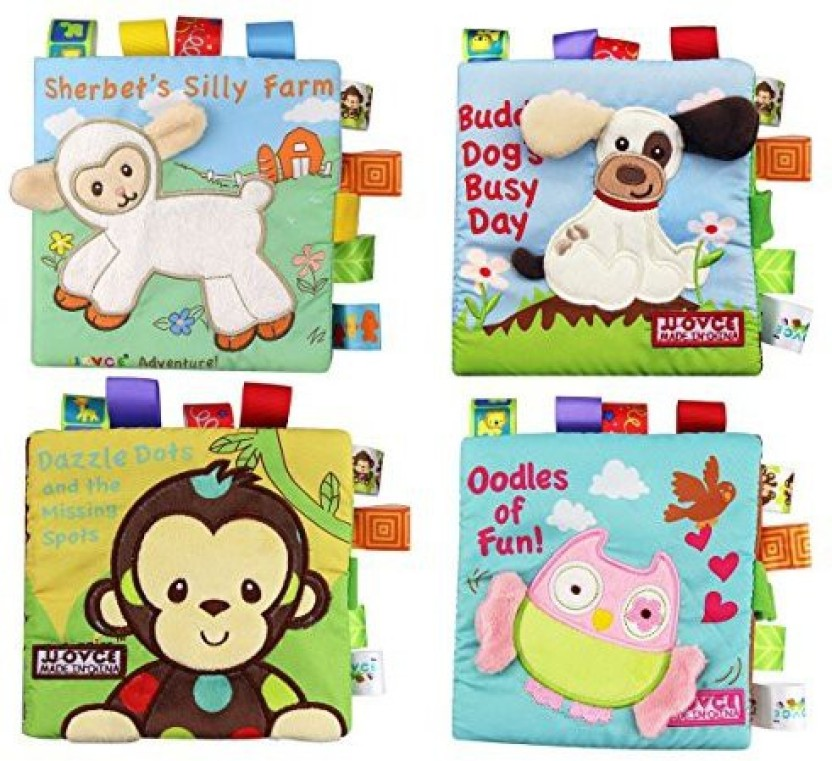 Non-Toxic Early Educational Learning Toy Animal Cartoon Book for Infants and Kids Tails Cloth Book Black White Farm