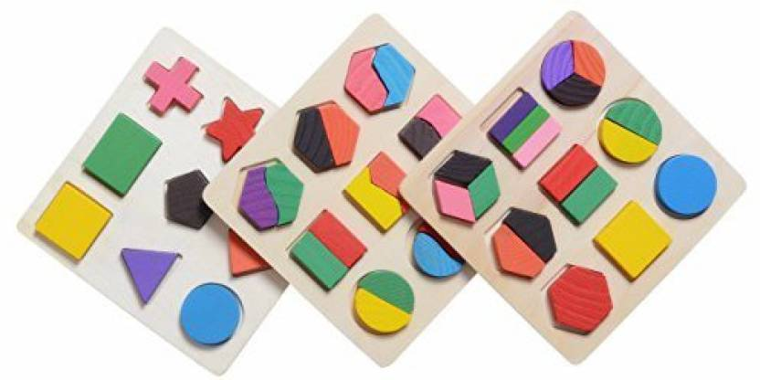 Generic Xadp Wooden Preschool Shape Puzzle Geometric Chunky Puzzles