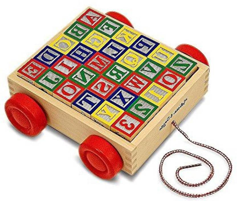 Generic Abc Block Cart For Toddlers Wooden Classic Vintage