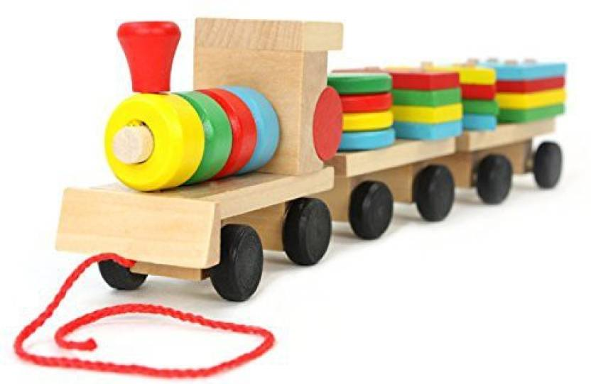 Generic Douyye Wooden Geometric Shapes Stacking Train Peg
