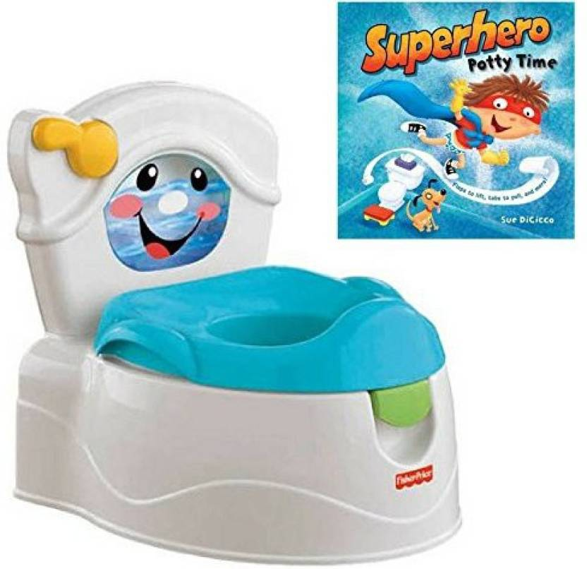 Fisher Prise Little Superhero Interactive Potty Time Book And Flush Potty, Kids Toilet Training, Educational Activity For Kids, Early Learnin (Multicolor)
