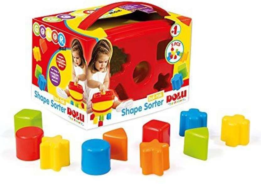 Toddler Kids Brightly Coloured Shape Block Sorter Bucket Carry Handle NEW