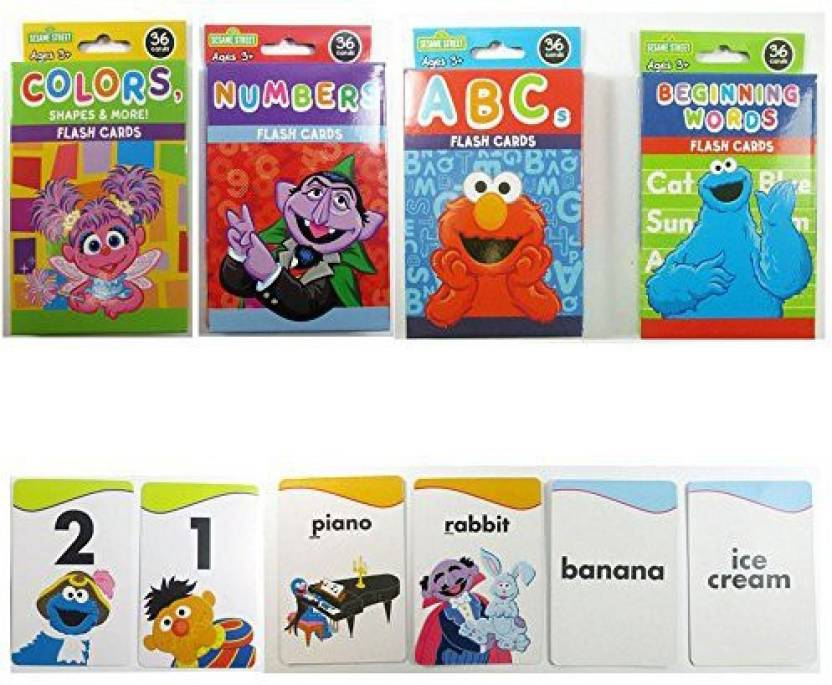 3a7b8b85d71 Generic 3 Sesame Street Flash Card Beginning Words Numbers Alphabet Abc  Learning Kid Fun (Multicolor)