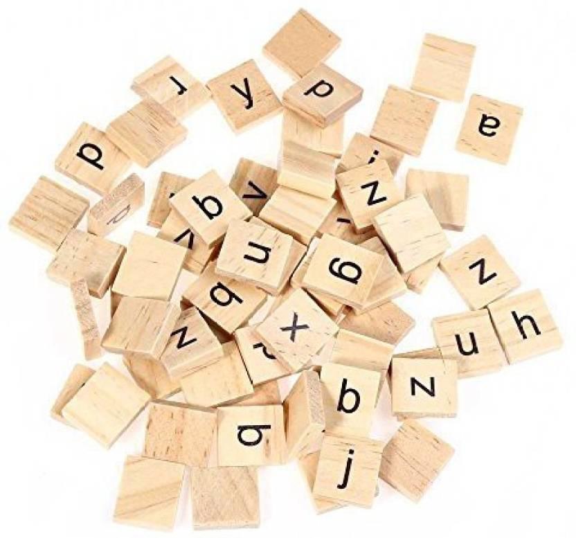 D Trading 100pcs Wooden Scrabble Tiles Lowercase Letters