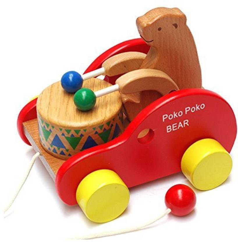 Generic Frealm Walker Toy Walk A Long Wooden Push Pull Toy Bear