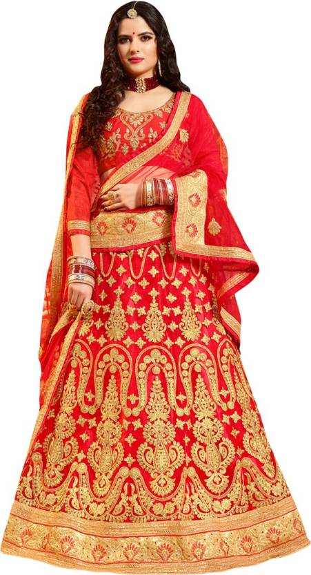 7ef5af0fa61cdd Manvaa Embroidered Semi Stitched Lehenga, Choli and Dupatta Set (Red, Gold)