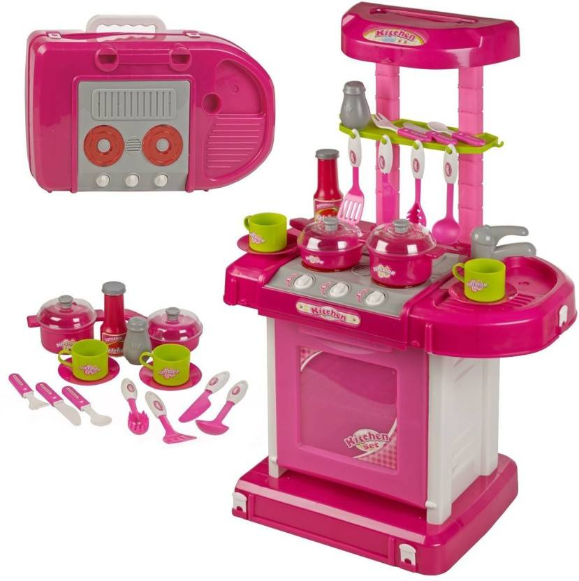 Techhark Pink Suitcase Bag Kitchen Set Toy With Battery Operated For