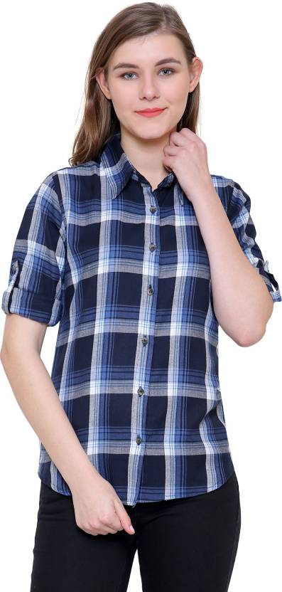 fe2fde01f Aditii's mantra Women Checkered Casual Blue Shirt - Buy Dark blue Aditii's  mantra Women Checkered Casual Blue Shirt Online at Best Prices in India ...