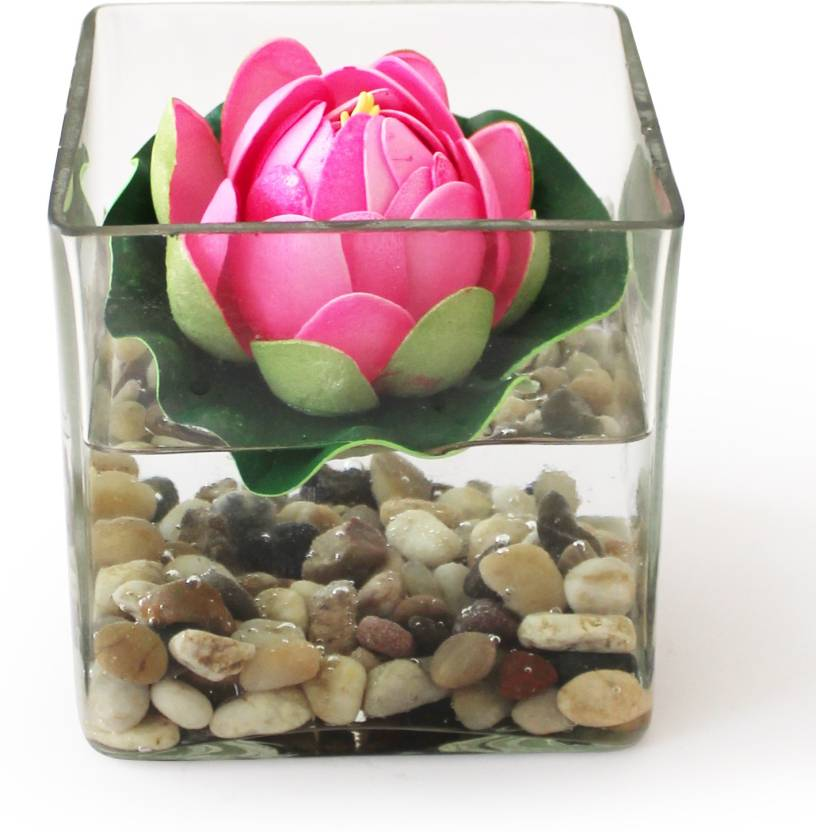 Tied Ribbons Square Glass Vessel With Faux Lotus And Natural Stones