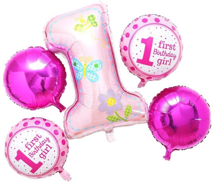AMFIN Printed Pack Of 5 First Birthday Decoration Girl Combo 1st For Baby Items