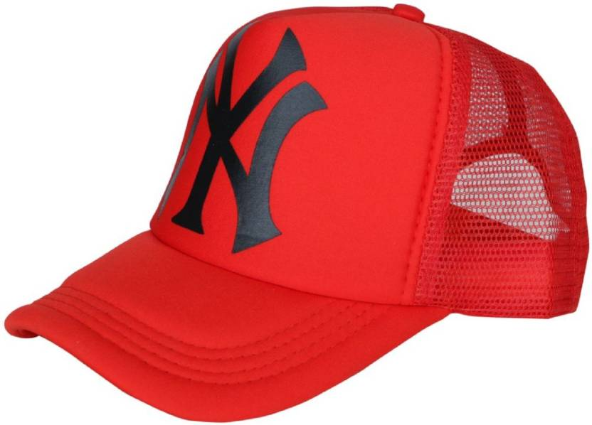 9fc0e22a4f ODDEVEN Printed Red NY Printed Half Net Caps, Trucker Cap For Boys And  Girls Caps Cap