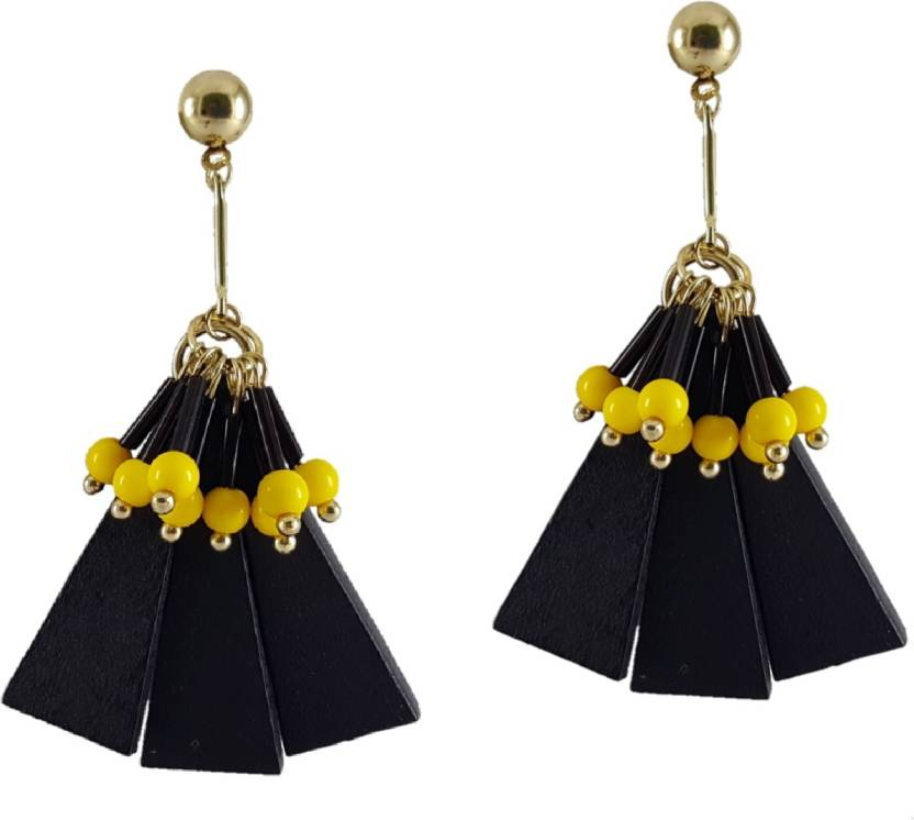 d35e3854642 Veechi Veechi Fashion Jewellery Dangle   Drop Stylish Earrings beautifully  design with Black-Yellow Combination