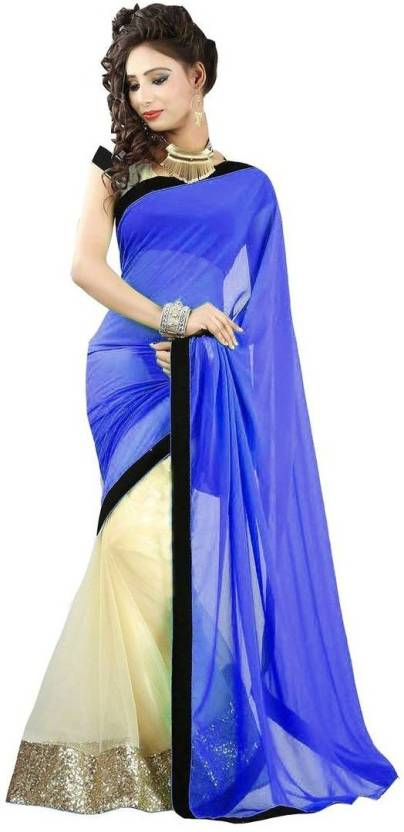 07cca6f719 Buy Krishna Emporia Self Design Bollywood Net Light Blue Sarees ...