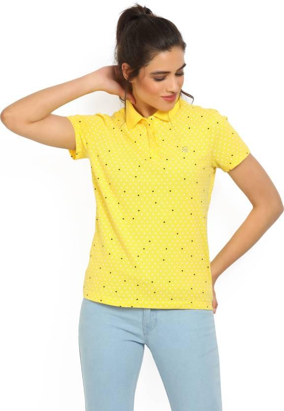 1c72caadb0b United Colors of Benetton Polka Print Women s Polo Neck Yellow T-Shirt - Buy  Yellow United Colors of Benetton Polka Print Women s Polo Neck Yellow T- Shirt ...