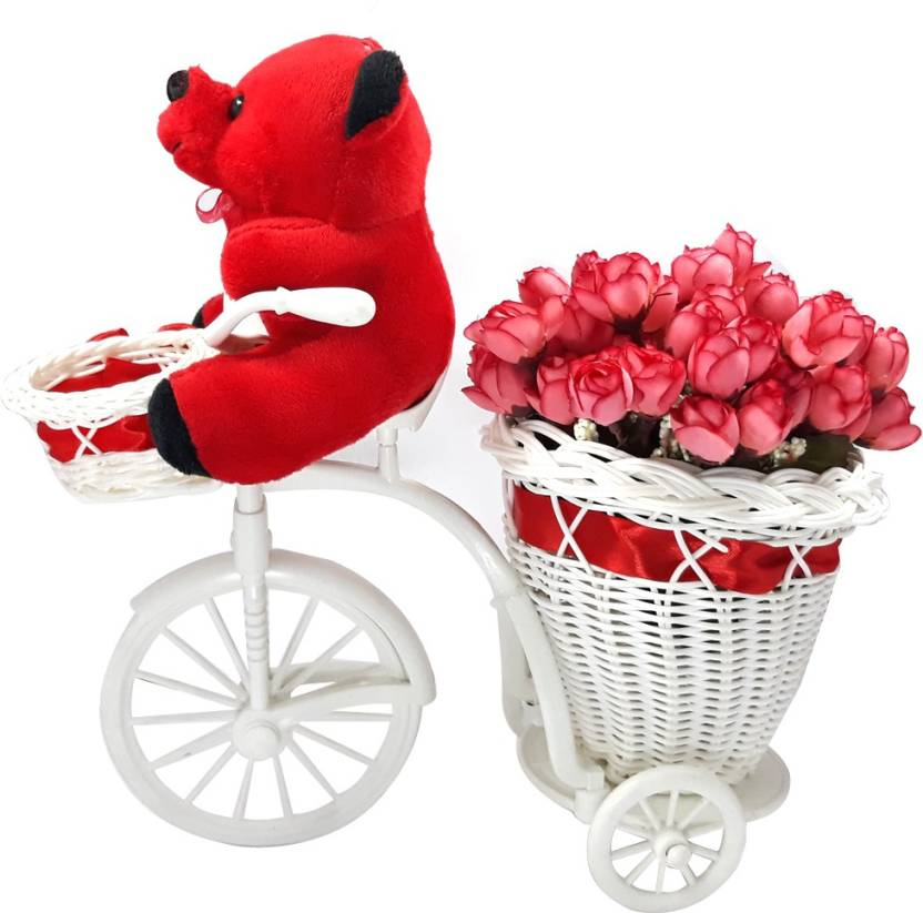 LOF Cycle Vase Red Peonies Beautiful Flowers Plant Pot Rose Gifts For Valentinetine Birthday Gift