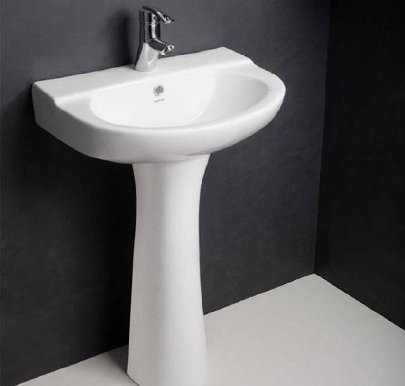 Hindware Full Pedesatal Wash Basin Complete Set Mario 10087 (55X40)  Pedestal Basin