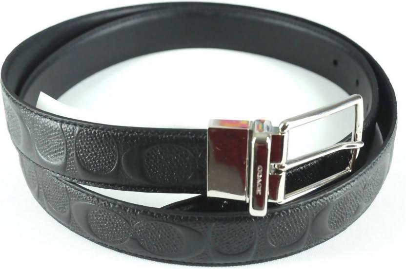 4de297f387d23 Coach Men Black Genuine Leather Belt Black - Price in India ...