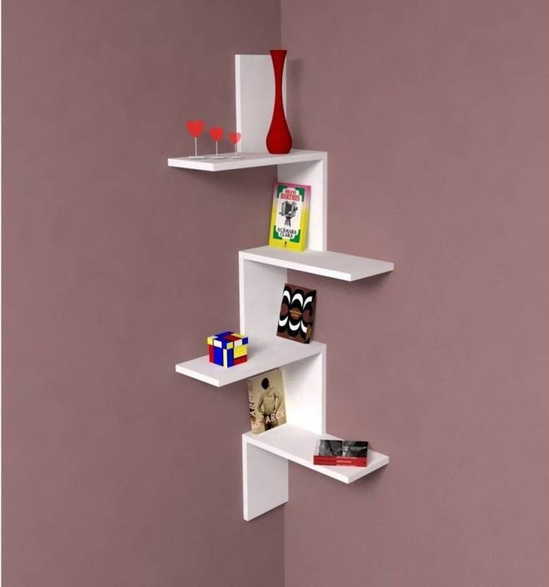 54b38880b73 OnlinePurchas NEW ANTIQUE CORNER STAND Wooden Wall Shelf (Number of Shelves  - 4