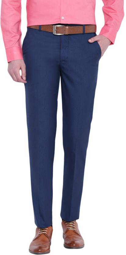 D52 Slim Fit Men Blue Trousers
