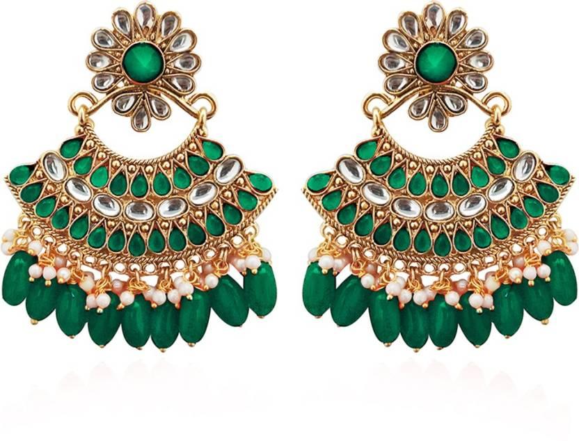 a052029642a95 Flipkart.com - Buy Kriaa by JewelMaze Green Kundan Stone Gold Plated ...