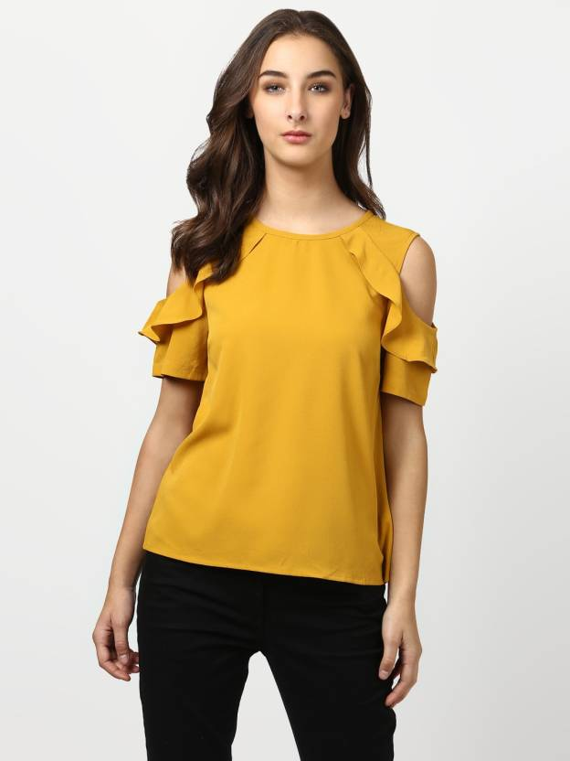 3754da76f15b3 Harpa Casual Cold Shoulder Solid Women s Yellow Top - Buy Harpa Casual Cold  Shoulder Solid Women s Yellow Top Online at Best Prices in India