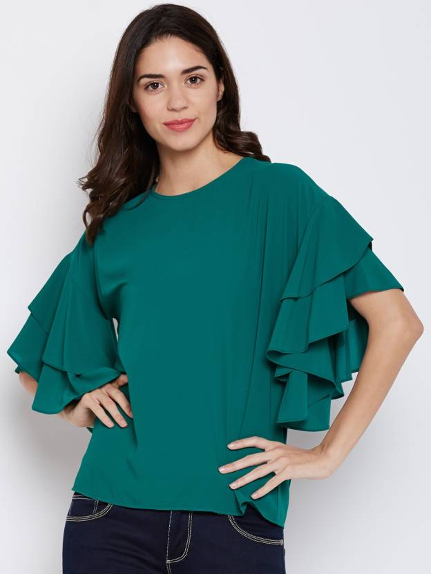 bd817744a2d623 Harpa Casual Half Sleeve Solid Women's Green Top - Buy Harpa Casual ...